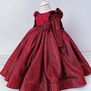 2021 Bourgogne Flowly Flowly Girl Robes Robe De Boule Dentelle Perlée Manches longues Lilttle Enfants Anniversaire Birthding Weatding Robes ZJ674