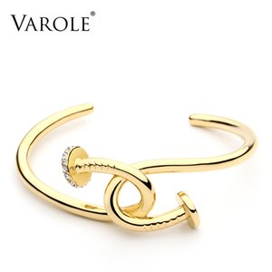 VAROLE New Nail Cuff Bracelet Crystal Manchette Gold Color Bangle Bracelet For Women Bracelets Bangles Jewelry Pulseiras