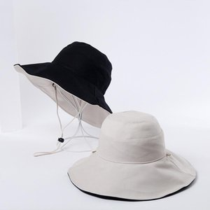 Double-sided Bucket Hats Unisex Pure Color Sun Hat Basin Cap Big Eaves Women Panama Outdoor Fisherman Men Casual Visor Wide Brim