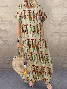 Women Style Figure Print Round Neck Short Sleeve Loose Baggy Dresses