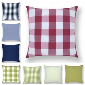 Solid Pillow Case Red Plaid Pillow Cover Stripe Plain Color Cushion Cover Rural Theme Home Pillow Case Sofa Pillowcase Home Decor D14