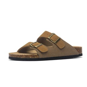 2020 New Summer Men's Suede Leather Mule Clogs Slippers Man Soft Cork Two Buckle Beach Slides Footwear for Men 45