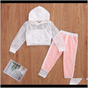 Clothing Baby, Kids Maternity Drop Delivery 2021 & Childrens 2-7Y Fashion Autumn Baby Girls Clothes Sets 3Pcs Mesh Net Long Sleeve Hooded Top
