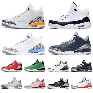 retro 3 aj 3s nova chegada de 2020 Jumpman UNC homens mulheres tênis de basquete Fragmento Knicks Rivais Chicago Trainers Designer Sneaker tamanho US 13