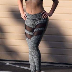 Female Net Leggings Waist Leisure Sportswear Stitching Fitness Pants Women Mesh Breathable for Female Black Gray Yoga Buttom Outwear