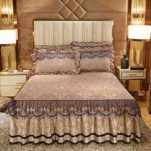 Pink Grey Plush Velvet Bedskirt with Pillow shams 160X200cm 180X200cm Lace Ruffled skirt Soft Warm Bed sheet set Pillowcase