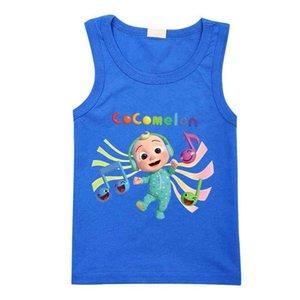 2021 Summer Cocomelon Cartoon Children's Sleeveless T-shrit Fashion Jj Boys Boys Girls Casual Top Tees Clothes Kids Sports Summer Students Clothing G763314