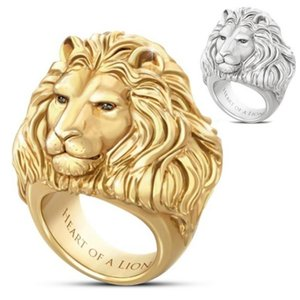 Junerain Brand Plated Gold Lion Head Men Ring King of Forest Punk Animal Male's Jewelry Fashion and Rock Style Best Gift Rings 1086 Q2
