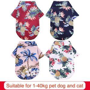 Hawaiian Shirt Sublimation Blanks Dog Apparel Dogs Clothe Chiffon Polyester Ventilation Spring Summer Vests Bulldog Holiday Seaside Coconut Tree 4 Colors XXL