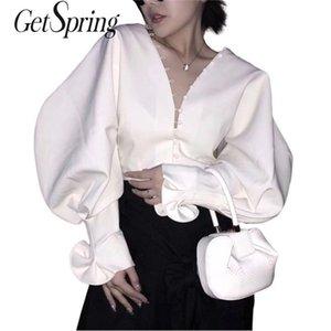 Getsring Bluz Gömlek Vintage V Boyun Beyaz Fırfır Bluzlar Fener Gömlek Üst Kadın Kızlar 210401