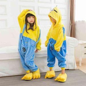 Kids Animal Pajama Unisex Boy Girl Cartoon Pyjama Unicorn Stitch Pijama Onesie Hoodie Sleepwear 210915