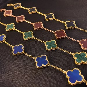 Have stamp high quality chain Fashion Four Leaf Clover 5 colors Link Bracelets 18K Gold for Women Girls Valentine's Wedding Jewelry