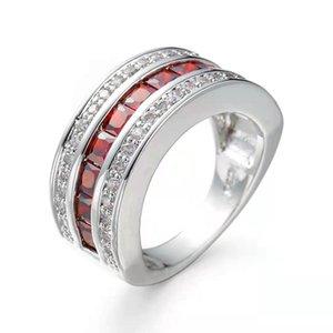 빅토리아 Wieck 럭셔리 쥬얼리 10kt 화이트 골드 가득 한 여러 가지 빛깔의 가닛을 가득한 다이아몬드 웨딩 공주 신부 반지 남자 선물