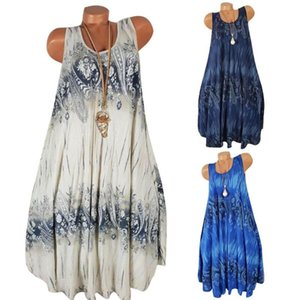 Plus Size Women Summer Flower Print Sleeveless Round Neck Loose Shift Dress Casual Dresses
