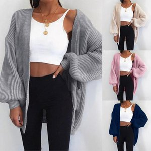 2020 New Loose Open Stitch Sleeve Autumn Winter Coat Loose Knitted Cardigan Sweater For Women Solid Casual Jumper Plus Size Coat