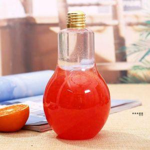 New LED Light Bulb Water Bottle Plastic Milk Juice Water Bottle Disposable Leak-proof Drink Cup With Lid Creative Drinkware EWA4827