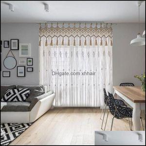 Curtain Deco El Supplies Home Gardencurtain & Drapes Boho Tassel Wall Hanging Hand-Woven Tapestry Window Decoration Bohemian Wedding Backgro