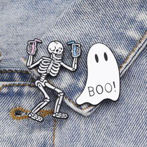 Pins, Brooches Enamel Pins Halloween Cartoon Badges Skull Skeleton Ghost Lapel Jean Shirt Bag Jewelry Gifts