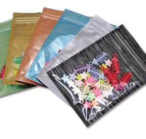 Office School Business & Industrial200Pcs Colorful Front Clear Aluminum Zip Lock Packaging Bags With Wireding Design Mylar Foil Zipper Packi