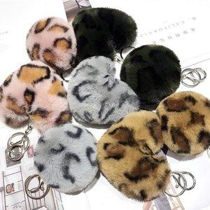 Leopard Pompom Key Rings Fluffy Faux Rabbit Fur Ball keychain Women Handbag Pendant Car Keyring Peach Heart Keyfobs Jewelry Kimter-X889FZA