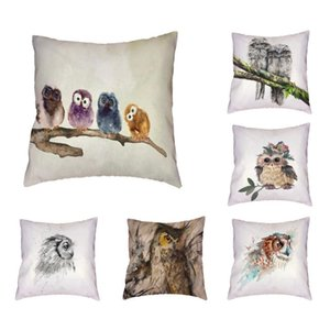Cute Woodpecker With Friends Playing Polyester Peach Skin Pillowcase Car Chair Living Room Bedroom Home Decor Cushion Cover Cushion Decorati