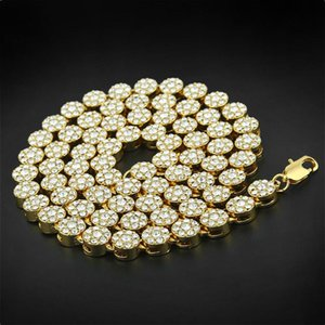 Hip Hop High-quality Iced Out Bling Rapper Punk Rock Men's Round Clustered Rhinestone 30 Inch Long Necklace Jewelry For Guys Chains