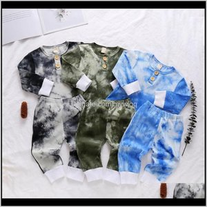 Baby, Kids & Maternity Drop Delivery 2021 Designer Clothes Tie Dyeing Toddler Boy Tops Pants 2Pcs Sets Long Sleeve Children Girl Outfits Bout