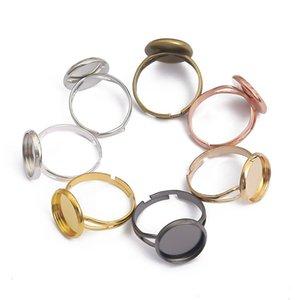 10 teile / los Einstellbare leere Ring Basis Fit Dia 10 12 14 16 18 20 mm Glas Cabochons Cameo Einstellungen Tablett DIY Schmuckherstellung Ring 1202 Q2