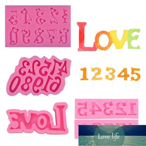 0-9 Number Letter Pendant Epoxy Resin Mold Letter LOVE Fondant Silicone Molds X4YD