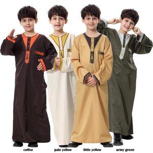 Ethnic Clothing Boy Children Abaya Dubai Kaftan Oman Arabic Qatar Muslim Kids Hijab Robe Caftan Marocain Ramadan Saudi Arabia Islamic