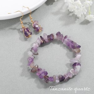 Earrings & Necklace Natural Raw Tanzanite Bracelet Nugget For Her,Tanzanite Chunk Crystal Jewelry Sets Bridesmaid Gifts