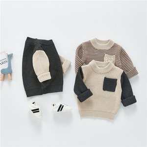 Pullover Born Baby Boys Girls Casual Long Sleeve Sweater, Fall Winter Fashion Color-block Pocket O-Neck Knitwear, 0-24 Months