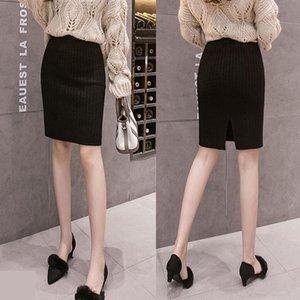 Skirts Korean Autumn And Winter Knitwear Back Split Hip Skirt Short Slim Base