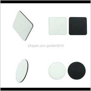 Pads Table Decoration Accessories Kitchen Dining Bar Garden Drop Delivery 2021 Sublimation Blanks Coaster Pu White Square Round Cuppads Home