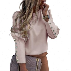 DAHOOD Womens Women Shirts Fashion Shirt Back Button Long Sleeve Blouse Spring Summer Elegant Female Floral Print Tops
