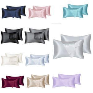 2pcs lot Bedsure Satin Pillowcase for Hair and Skin Silk Queen Size(Silver Grey, 20x30 inches) Slip Cooling Satin Pillow Covers with Envelope Closure