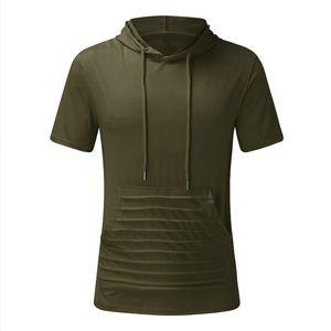 Erkek T-Shirt Erkekler Kas Egzersiz Spor Cep Fermuar Nefes Hoodie Fanilasyonu Kısa Kollu Açık T-shirt Katı Kapüşonlu Spor T Gömlek