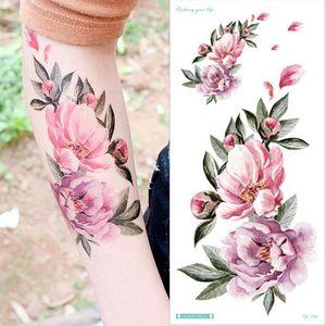 Waterproof Temporary Tattoo Colorful Sticker Rose Flowers Leave Flash Tattoos Body Art Full Arm Fake Sleeve