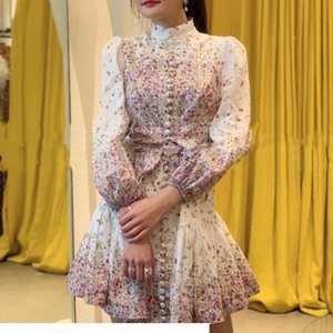 2020 ZIM latest stand collar printed lantern sleeves linen waist lace dress