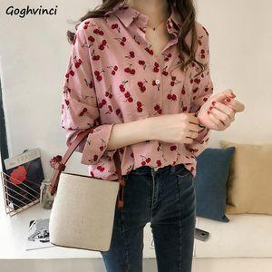 Women's Blouses & Shirts Women Cherry Printed Simple Elegant Korean Style All-match Retro Loose Lady Basic Shirt Oversize Work Wear Womens B