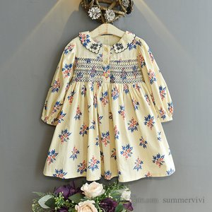 Girls autumn dresses kids floral printed falbala lapel long sleeve pleated dress 2021 children princess clothing Q1026