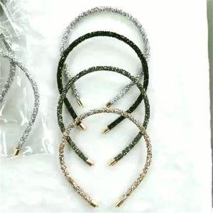 Whole Korean Style Rhinestone Crown Head Hoop Simple Headwear Women Thin Bling bling Crystal Bead Headband