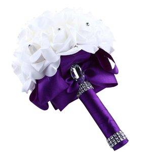 Zero Crystal Roses Pearl Bridesmaid Wedding Bouquet Bridal Artificial Silk Flowers Decorative & Wreaths