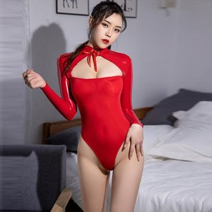 Long Sleeve See Through High Womens Jumpsuits Cut Bodysuits Elastic Shiny Tight Porn Body Suit Splicing Women Transparent Sexy Bodysuit
