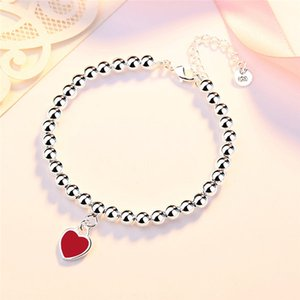 Womens Pendant Necklaces Heart Classic Blue Pink Red 925 Silver Bracelet Young Girl Jewelry Gift With Origina box