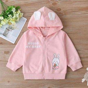 Winter Children Casual Cotton Long Sleeve Zipper Print Rabbit Letter Hooded Pink Hoodies Baby Girls T-shirt 2-6T 210629