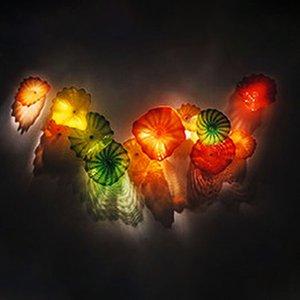 Murano colgando placas lámparas artes mano soplado vidrio pared decorativo flor placas para la decoración del arte