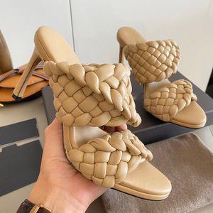 Sandali da donna intrecciati tacchi alti curve sandali allungati alla punta delle mandorle alti muli moda donna scarpe tacchi alti scivoli