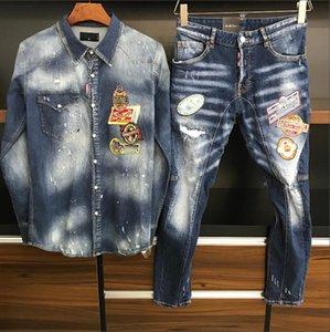 2021 Знаменитый мужской дизайнер DS джинсовые куртки + мотоциклетные джинсы европейские уличные моды высококачественные повседневные ARED2 пиджак синий стилист одежда верхняя одежда