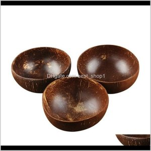 Dinnerware Kitchen Dining Bar Home Garden Drop Delivery 2021 Natural Coconut Bowl Decoration Fruit Salad Noodle Rice Wooden Handicraft Creati